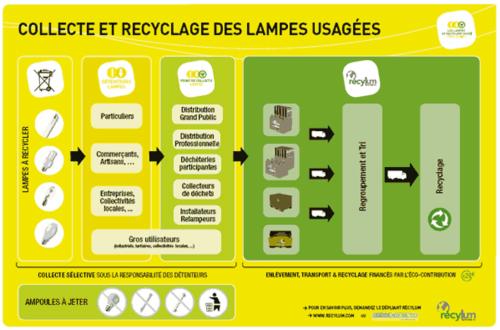 Schéma du recyclage des lampes